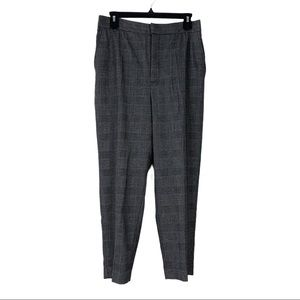 Zara Plaid Tartan Gray Slim Leg Trousers